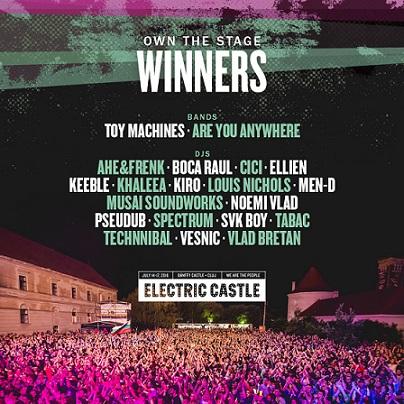 Au fost aleși câștigătorii concursului OWN THE STAGE at Electric Castle