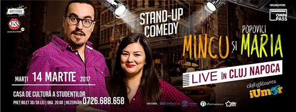 Oferim 2 invitatii duble la spectacolul StandUp Comedy – Mincu si Maria Popovici