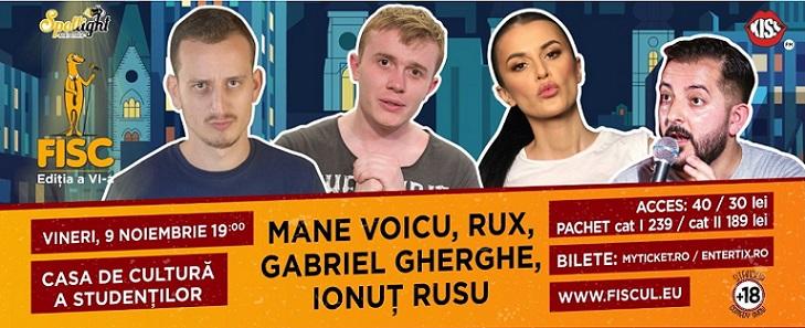 Stand-up comedy cu Mane Voicu, RUX, Gabriel Gherghe și Ionut Rusu