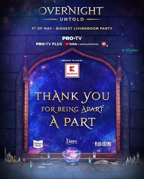 Peste 1,2 milioane de oameni din țară și din întreaga lume au urmărit Overnight, cel mai mare party de acasă, cu Untold și Pro TV